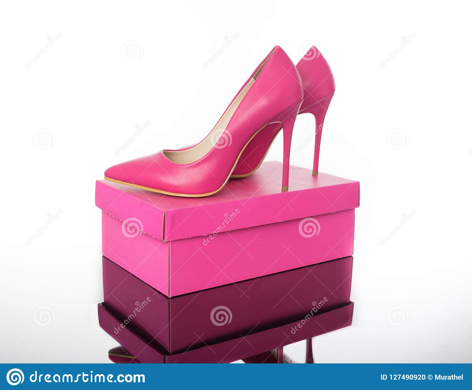 462aa8fa7cb Double Pink Pointed High Heels Women`s Shoe And Box Stock Photo ...