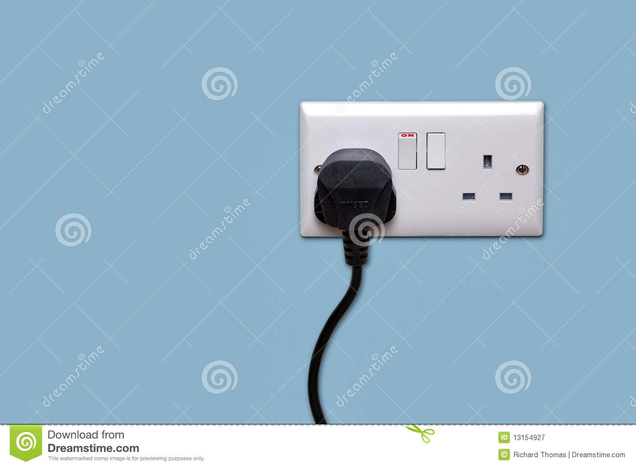 Double Power Socket And Single Plug Switched On Stock Image