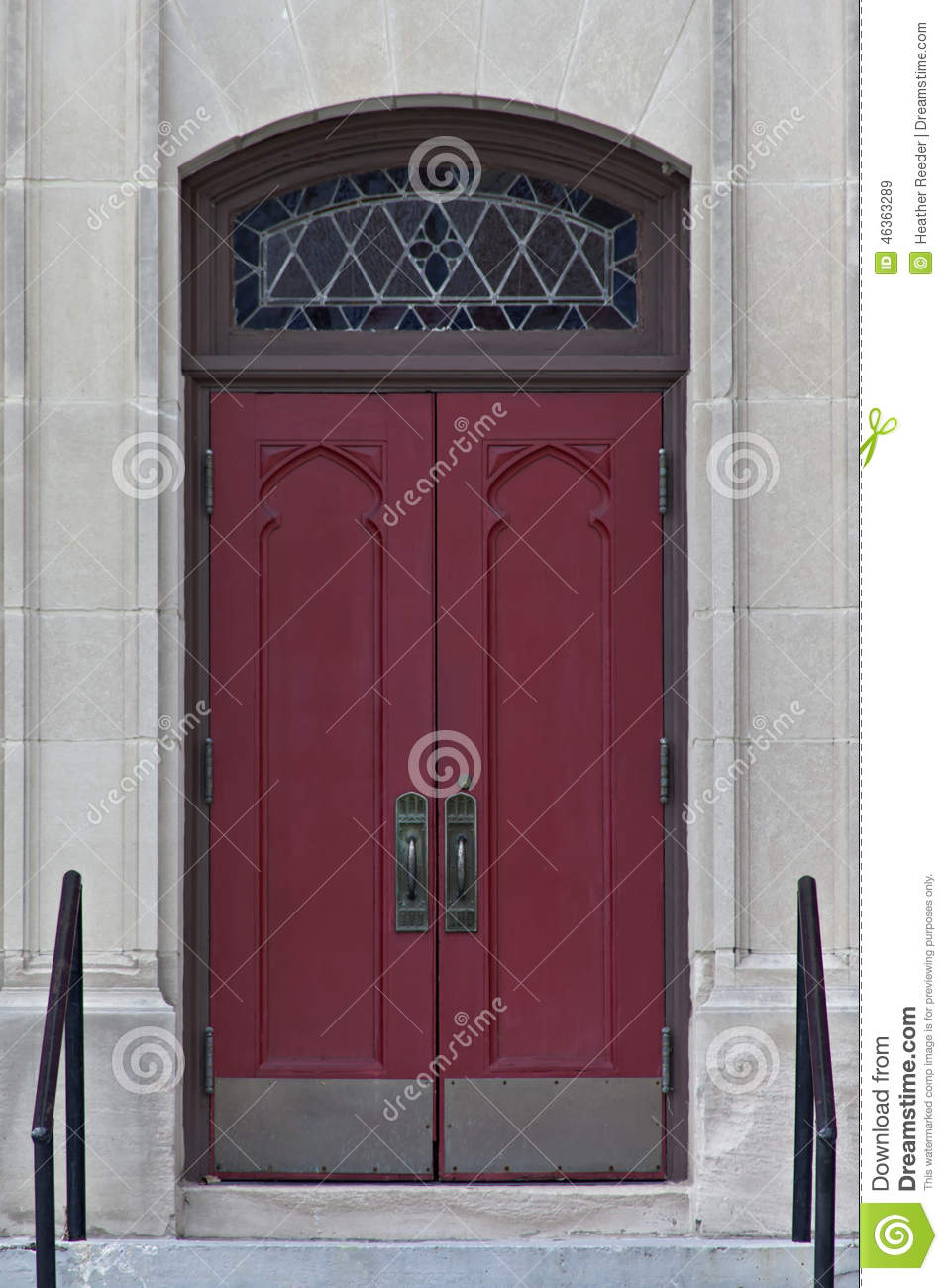 Double red doors with stained glass window above royalty for Window up above