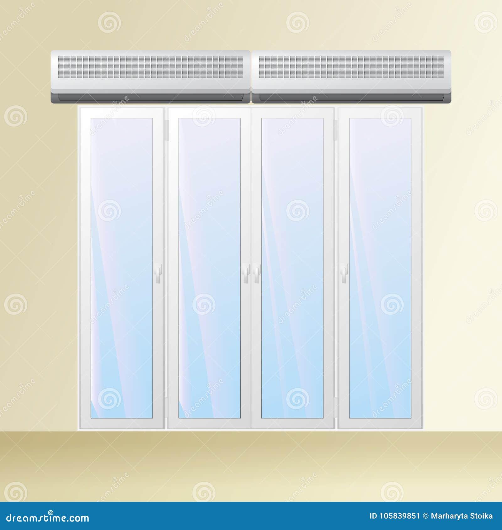Rideau Porte D Entrée double rideau aérien au-dessus de porte illustration de