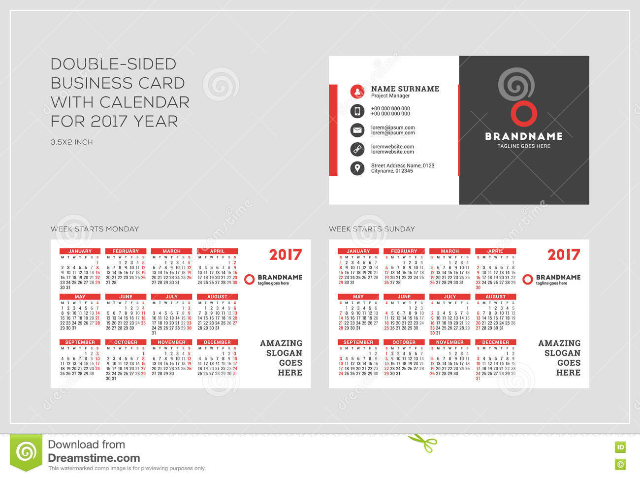 Doublesided Business Card Template With Calendar For Year - 2 sided business card template