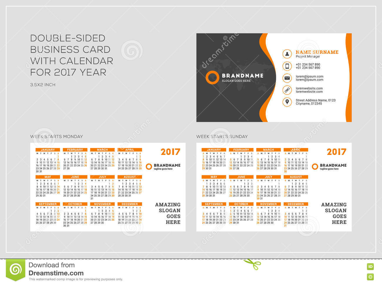 DoubleSided Business Card Template With Calendar For Year - Double sided business card template