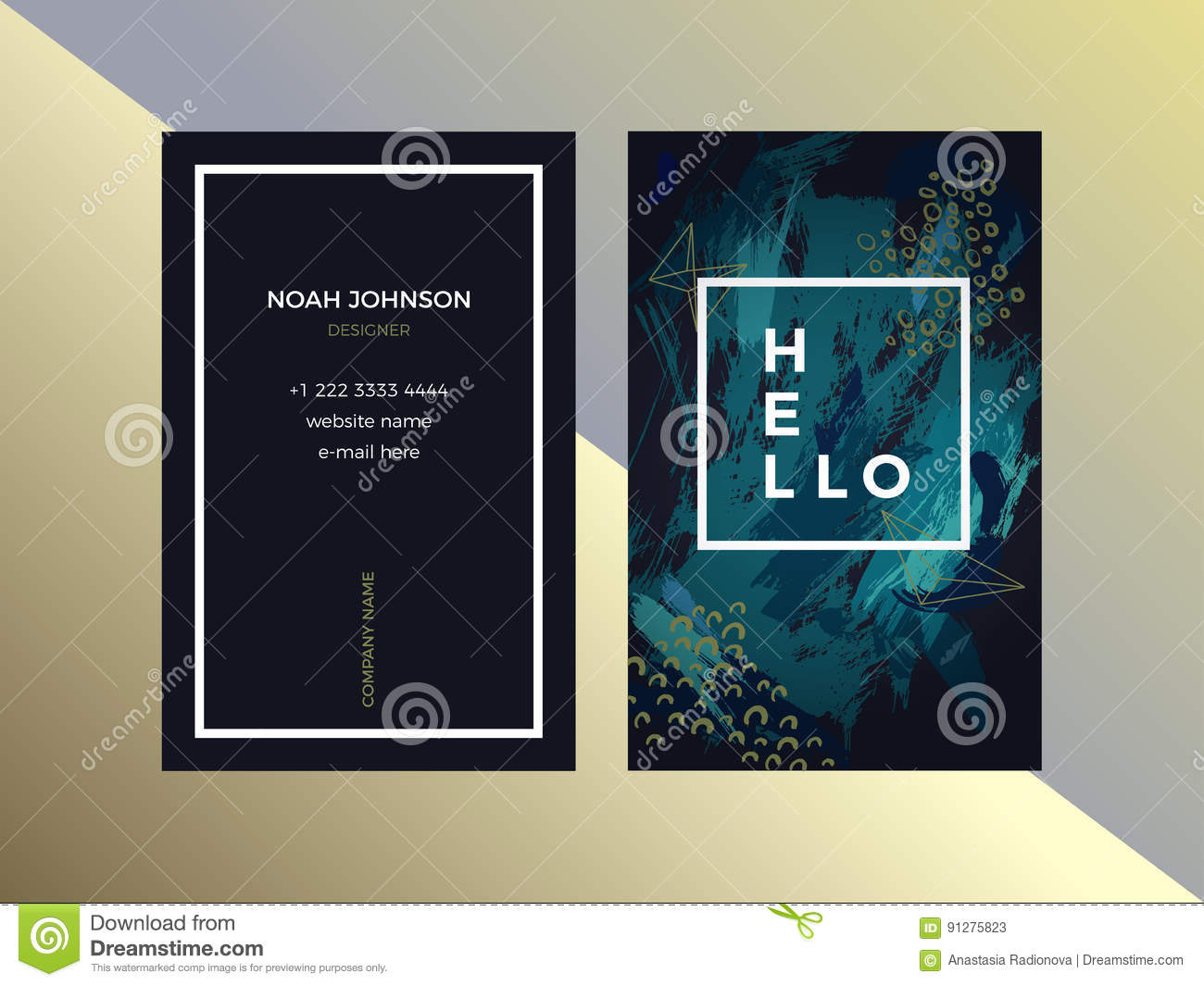 Double sided business card template in green color stock vector template of double sided business card in emerald color dark green and white artistic texture brush strokes the cover and reverse side strict style reheart Gallery