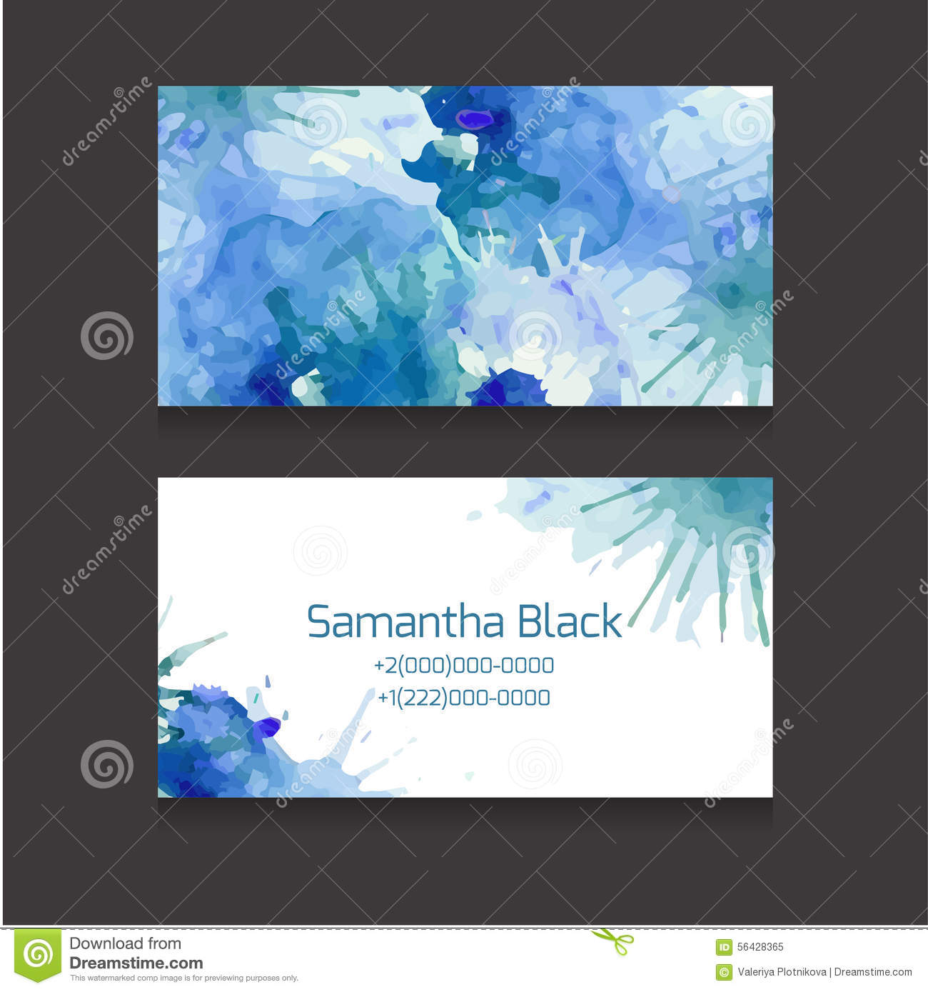 Double sided business card template with a watercolor for Double sided place card template