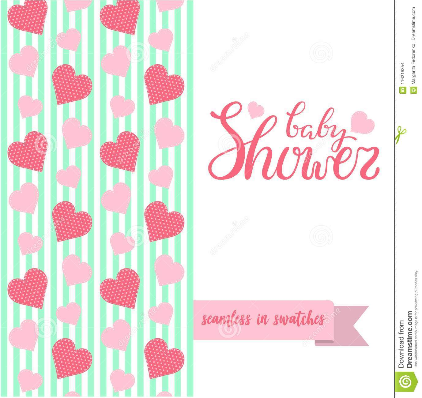 Double Sided Cute Greeting Card For Newborn Baby Girl Shower Party