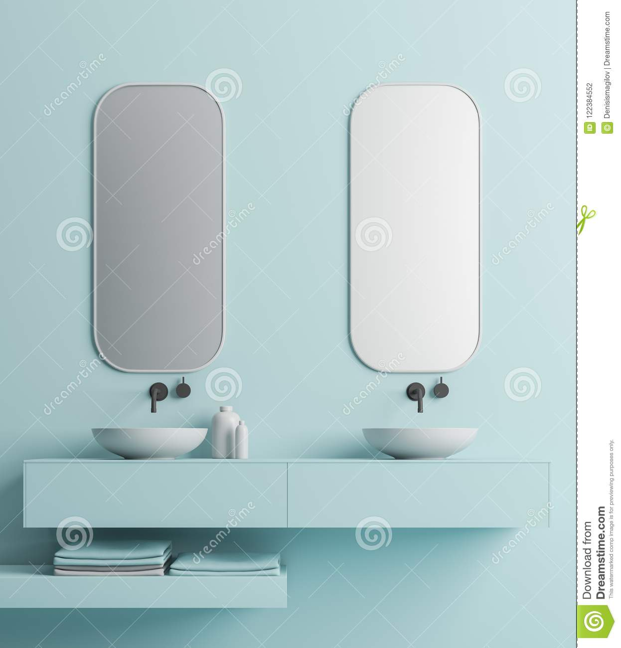 Double Sink, Blue Wall Close Up Stock Illustration - Illustration of ...