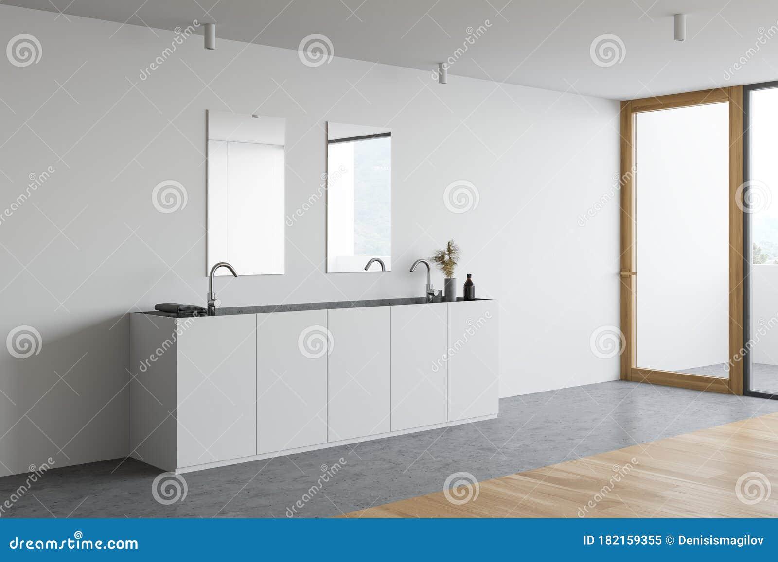 Double Sink In Minimalistic White Bathroom Corner Stock Illustration Illustration Of Inside Model 182159355
