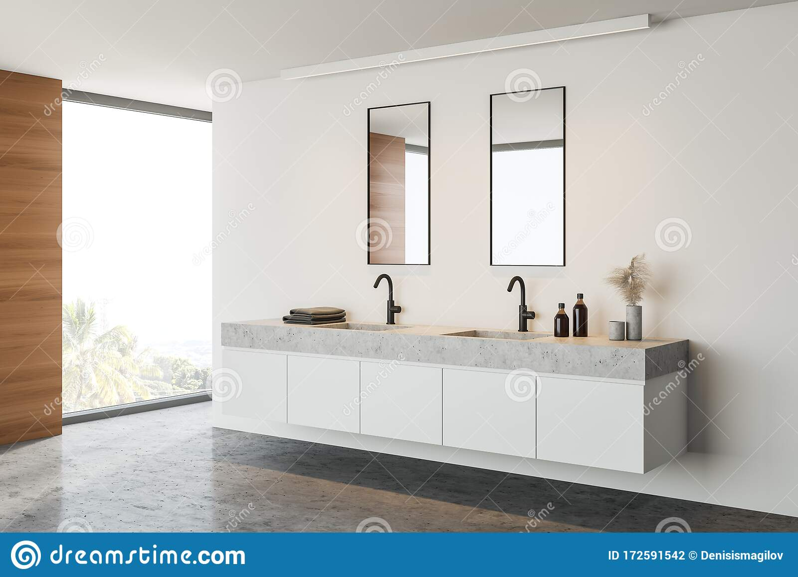Double Sink In White And Wooden Bathroom Stock Illustration Illustration Of Contemporary Real 172591542