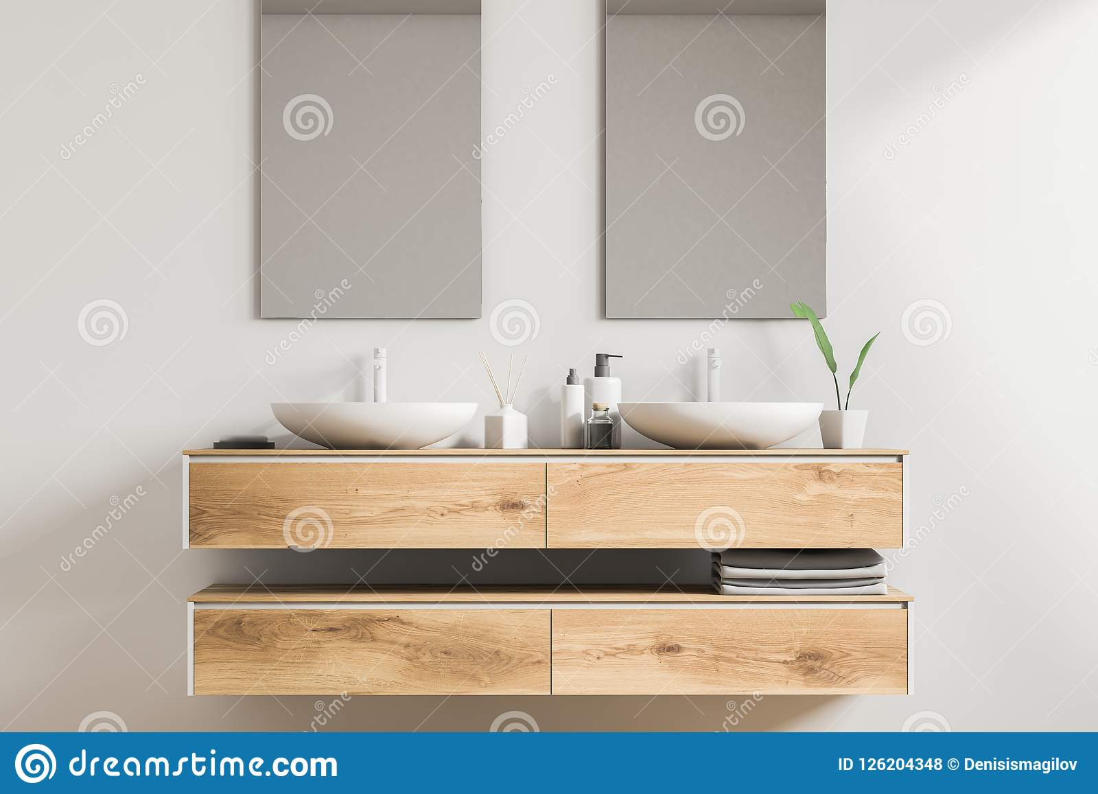 Double Sink Wooden Vanity Unit Vertical Mirrors Stock Illustration Illustration Of House Faience 126204348