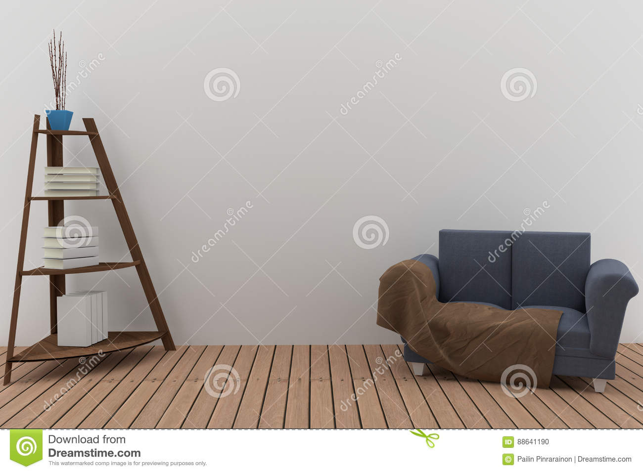 Double Sofa Fabric With Bookshelf In The Room Interior 3D Rendering