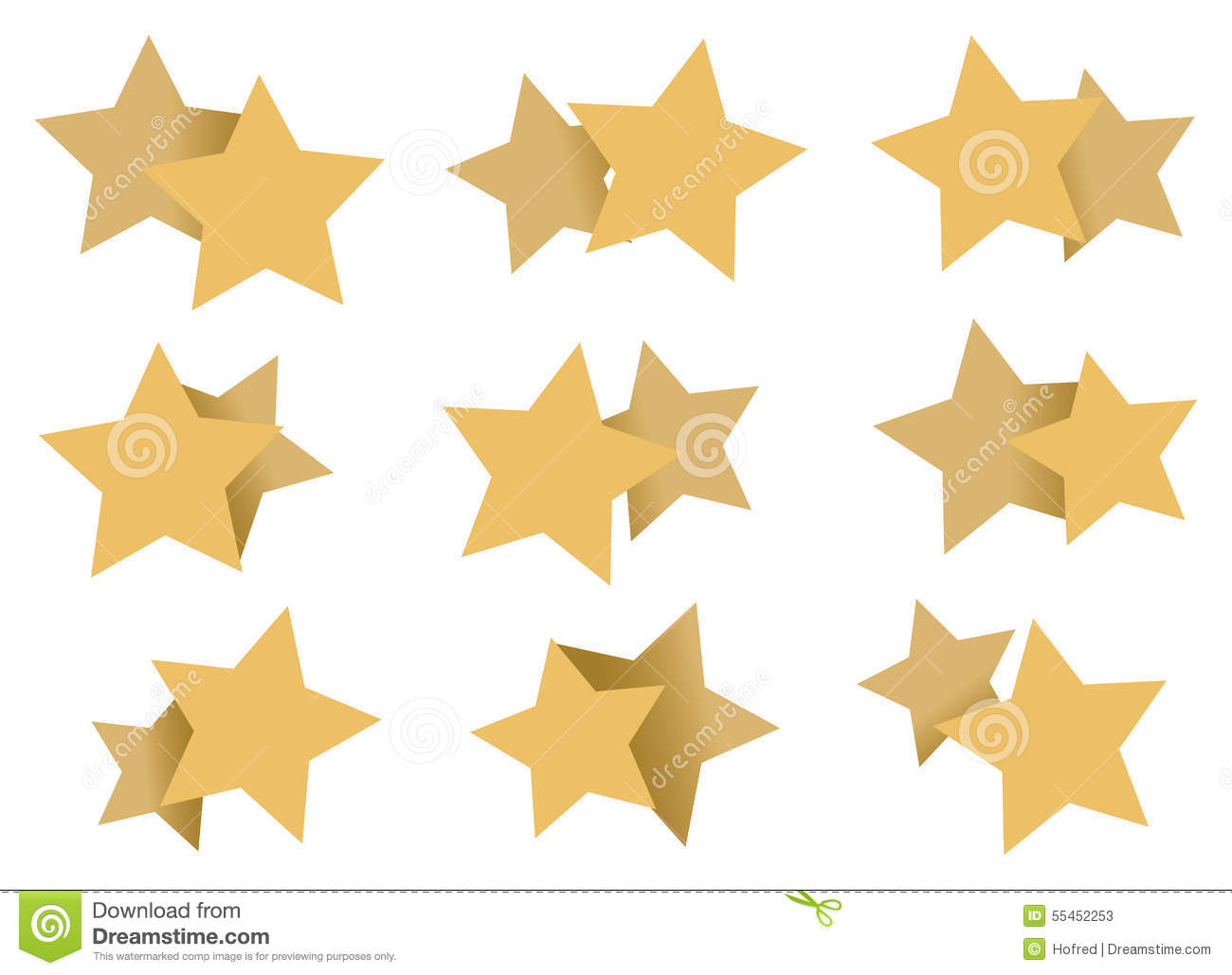 Double Stars Patterns Art Element Isolated On White Stock