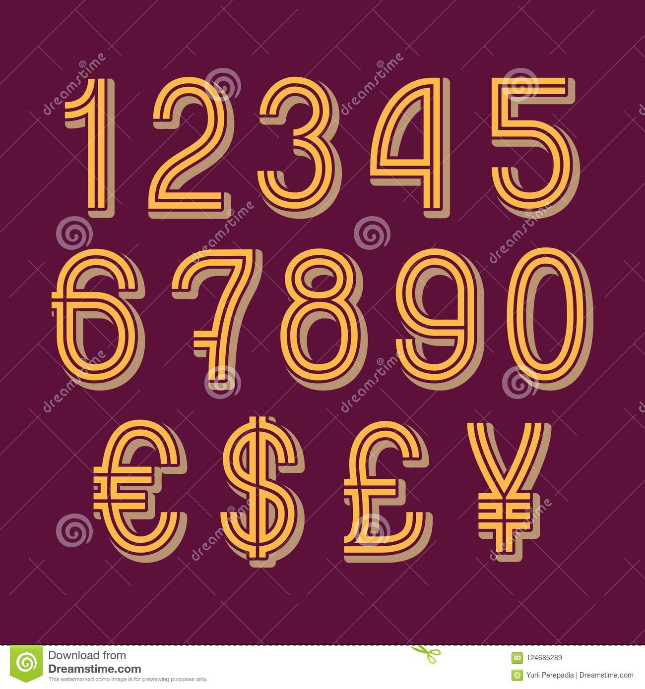 Double Stripe Style Numbers With Currency Signs Of American Dollar