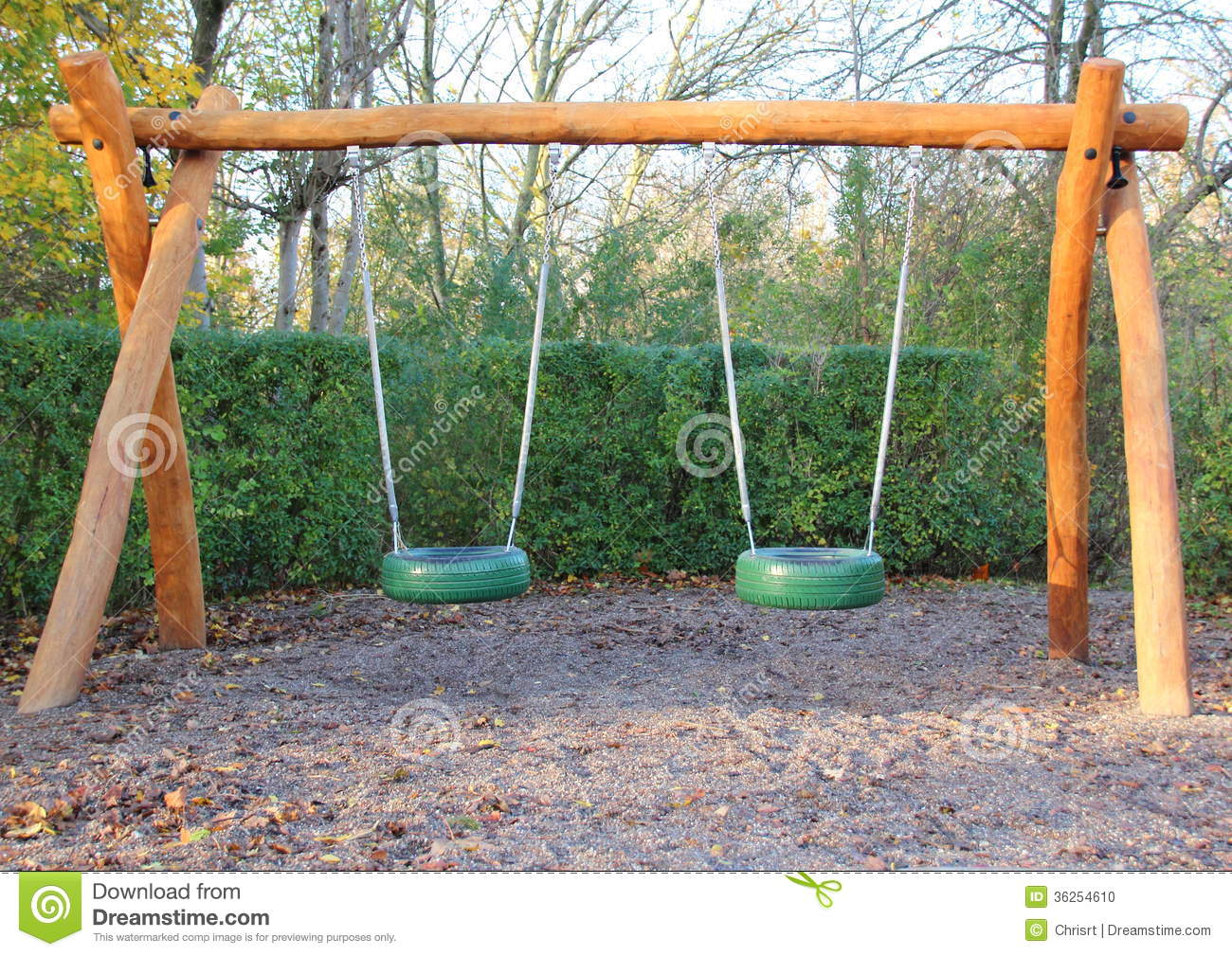 Double Swing At Public School Playground Stock Photo