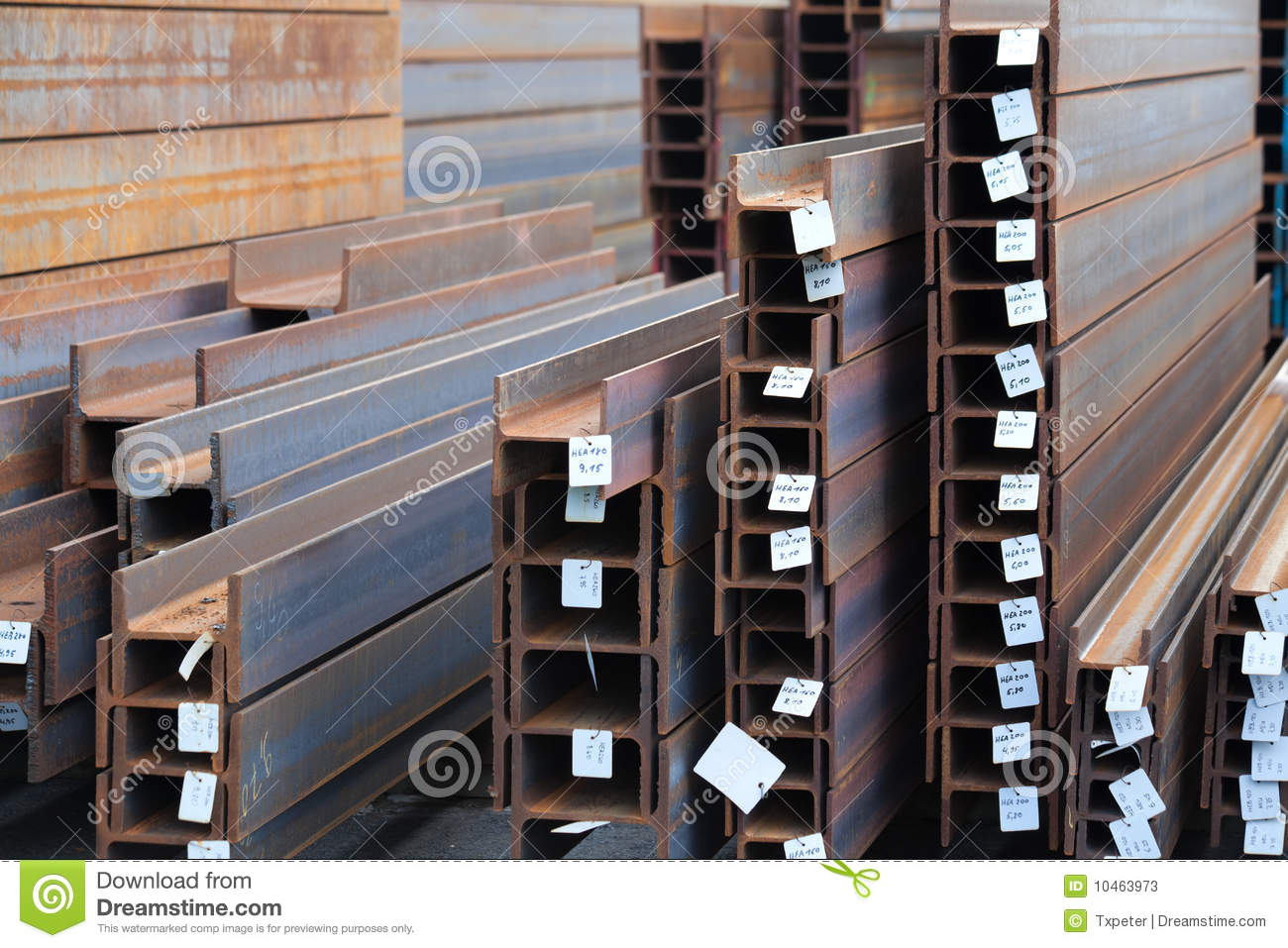 Double T Beam H Steel Stock Image Image Of Long Blue