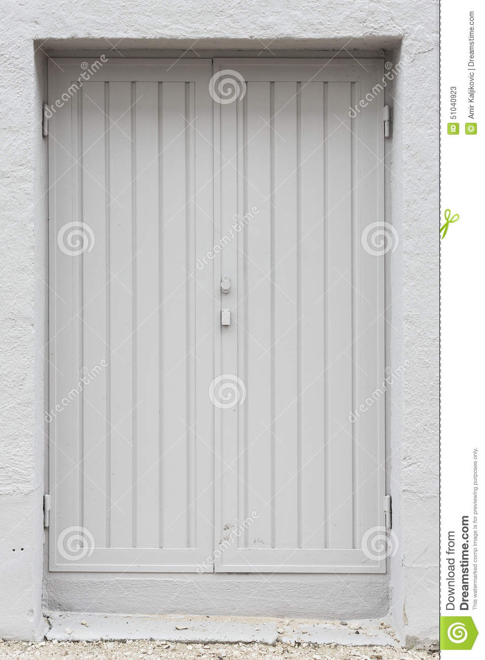 Double White Painted Wood Exterior Doors Stock Image Image 51040923
