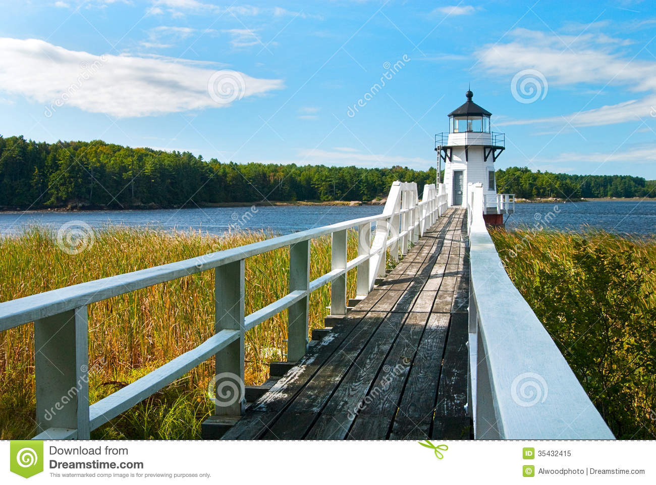 Walkway to Lighthouse Near Boothbay, Maine