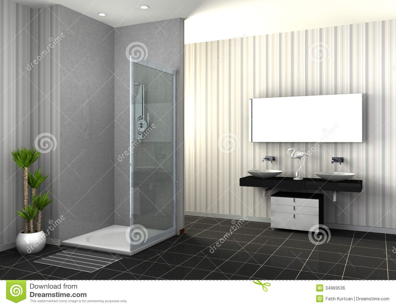 Douche de plain-pied illustration stock. Illustration du ...