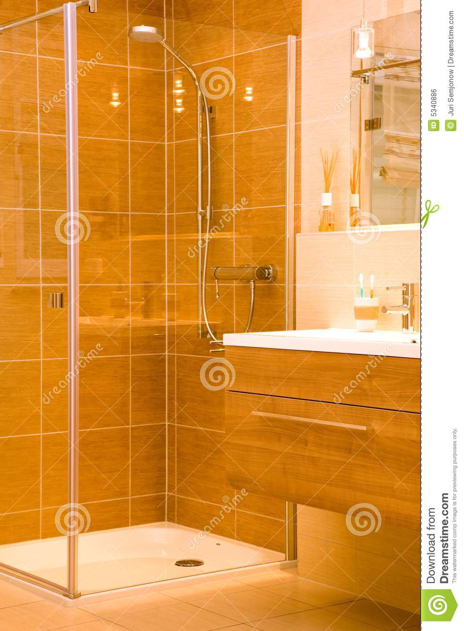 Douche moderne de salle de bains photo stock image 5340886 for Photos de douche moderne