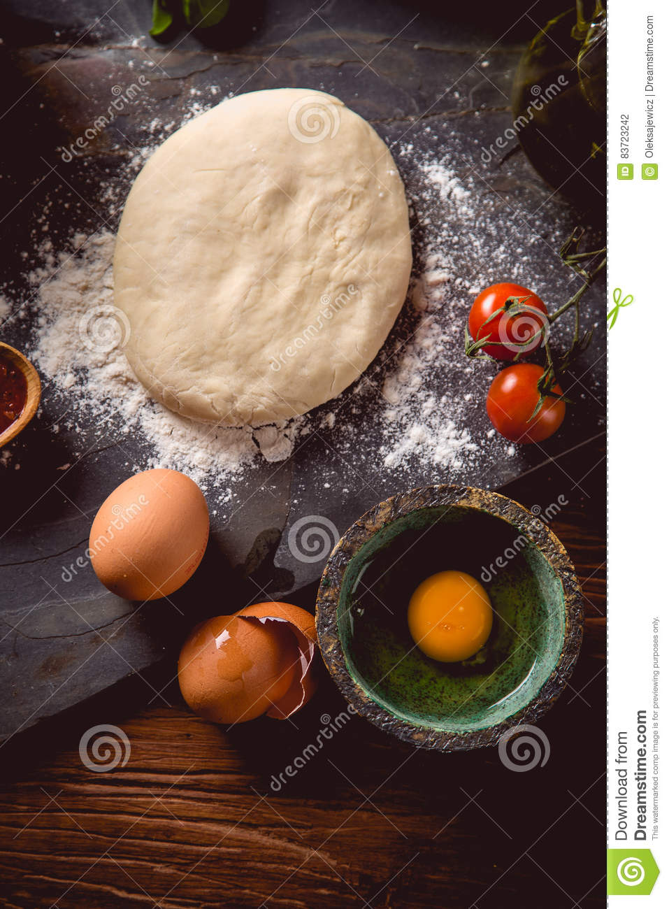 Dough With Flour On Wooden Table, Preparing Homemade Pizza Stock Photo