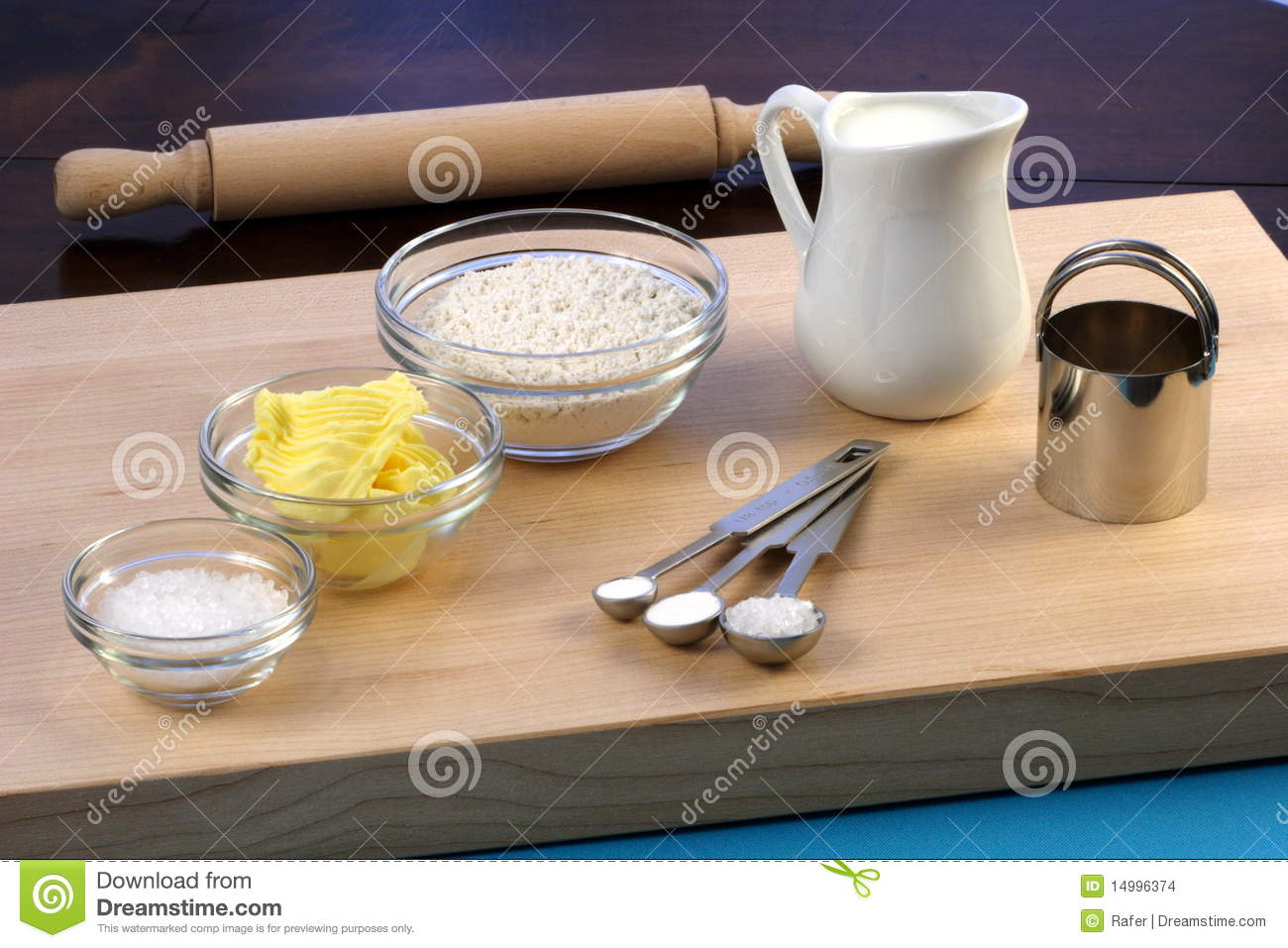 Dough Ingredients And Kitchen Utensils Stock Images