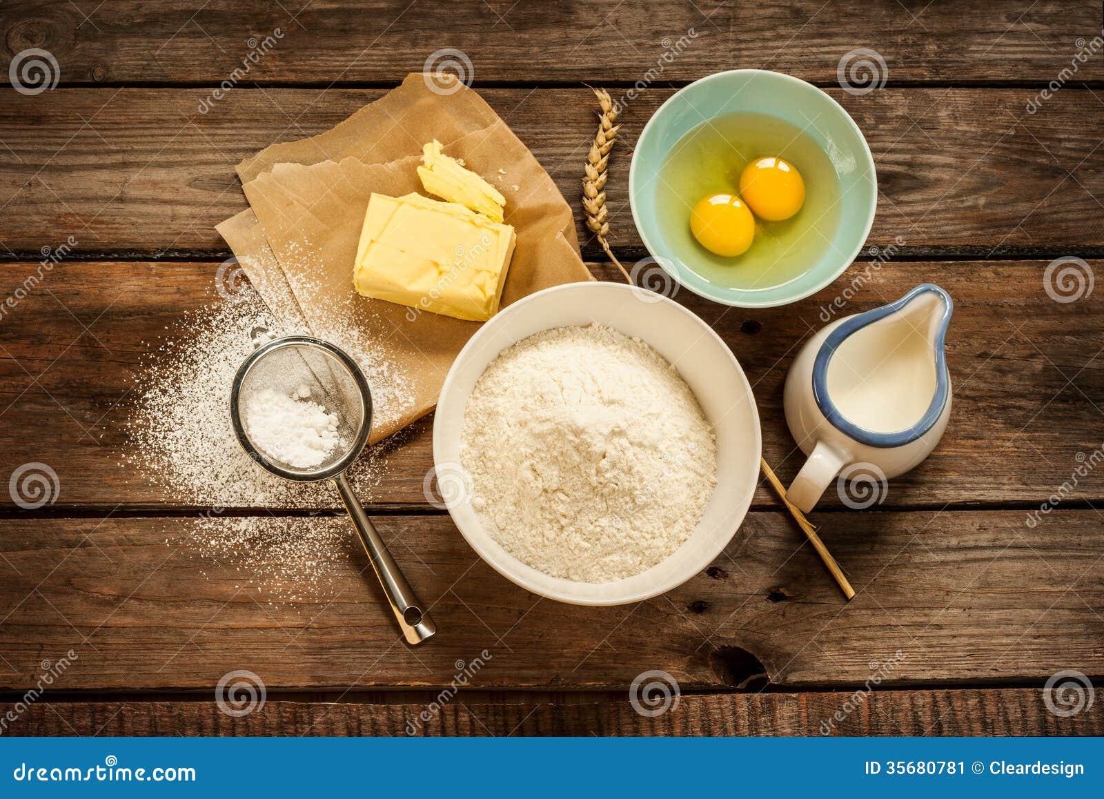 dough recipe ingredients on vintage rural wood kitchen table stock image