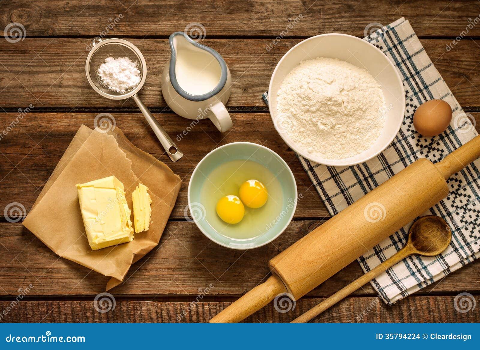 Dough Recipe Ingredients On Vintage Rural Wood Kitchen ...