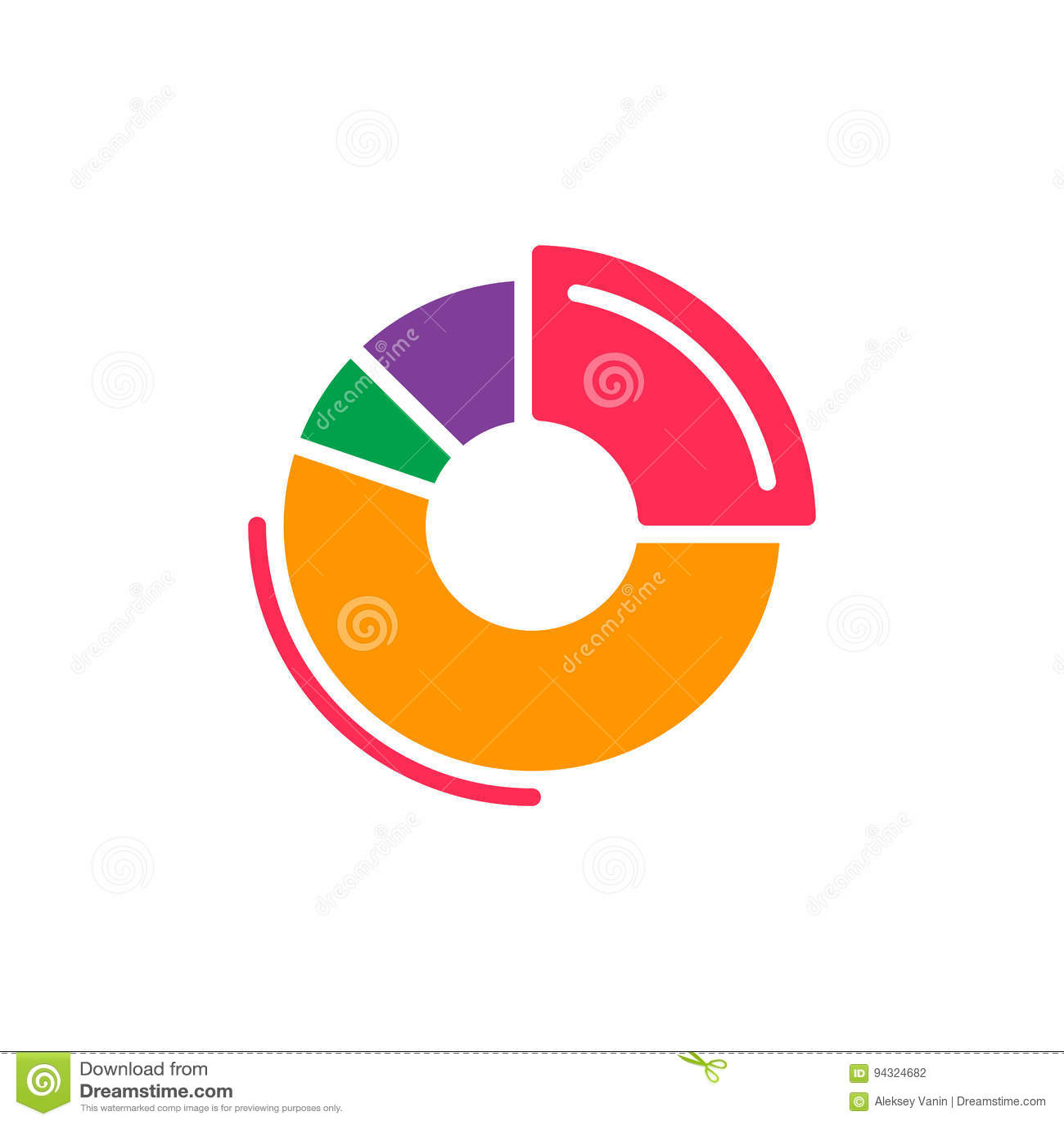 Doughnut Chart Colorful Icon, Vector Flat Sign Stock Vector