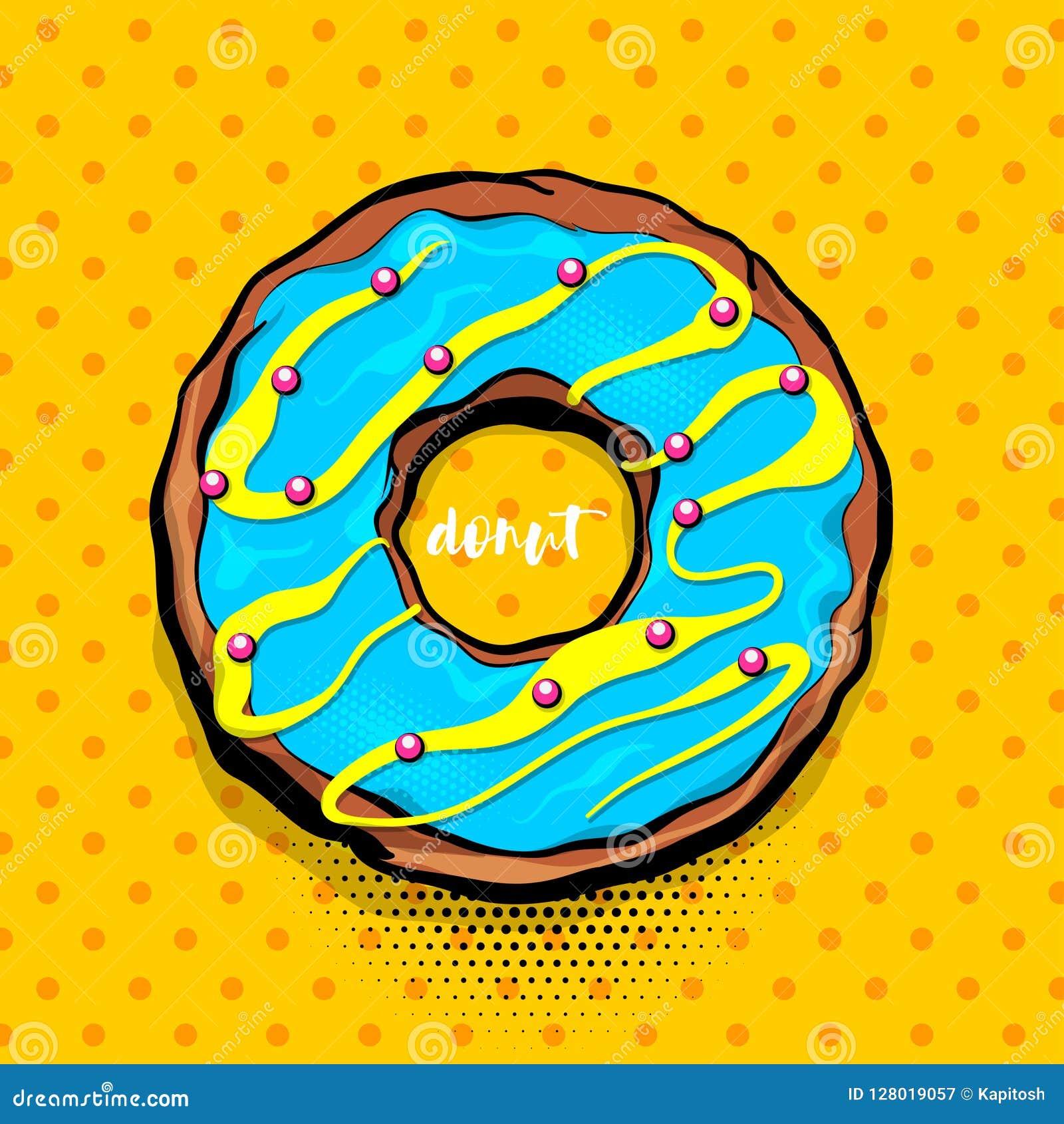 Doughnut Donut Cartoon Pop Art Stock Vector Illustration Of