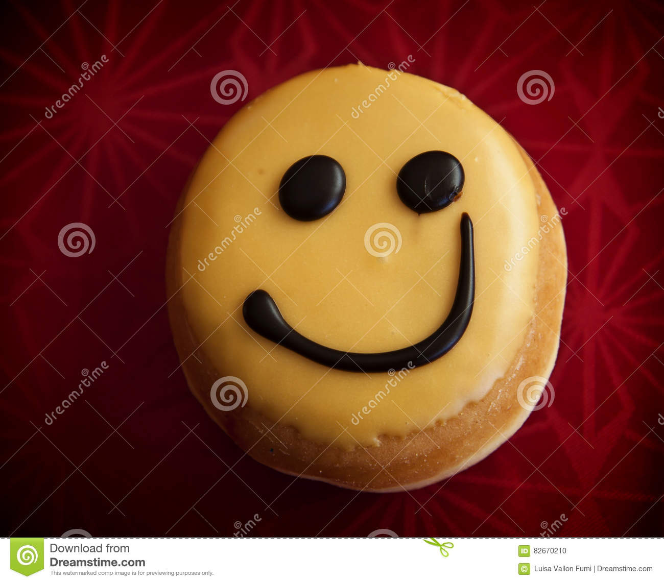 Doughnut Glazed With Smiley Face Stock Photo Image Of