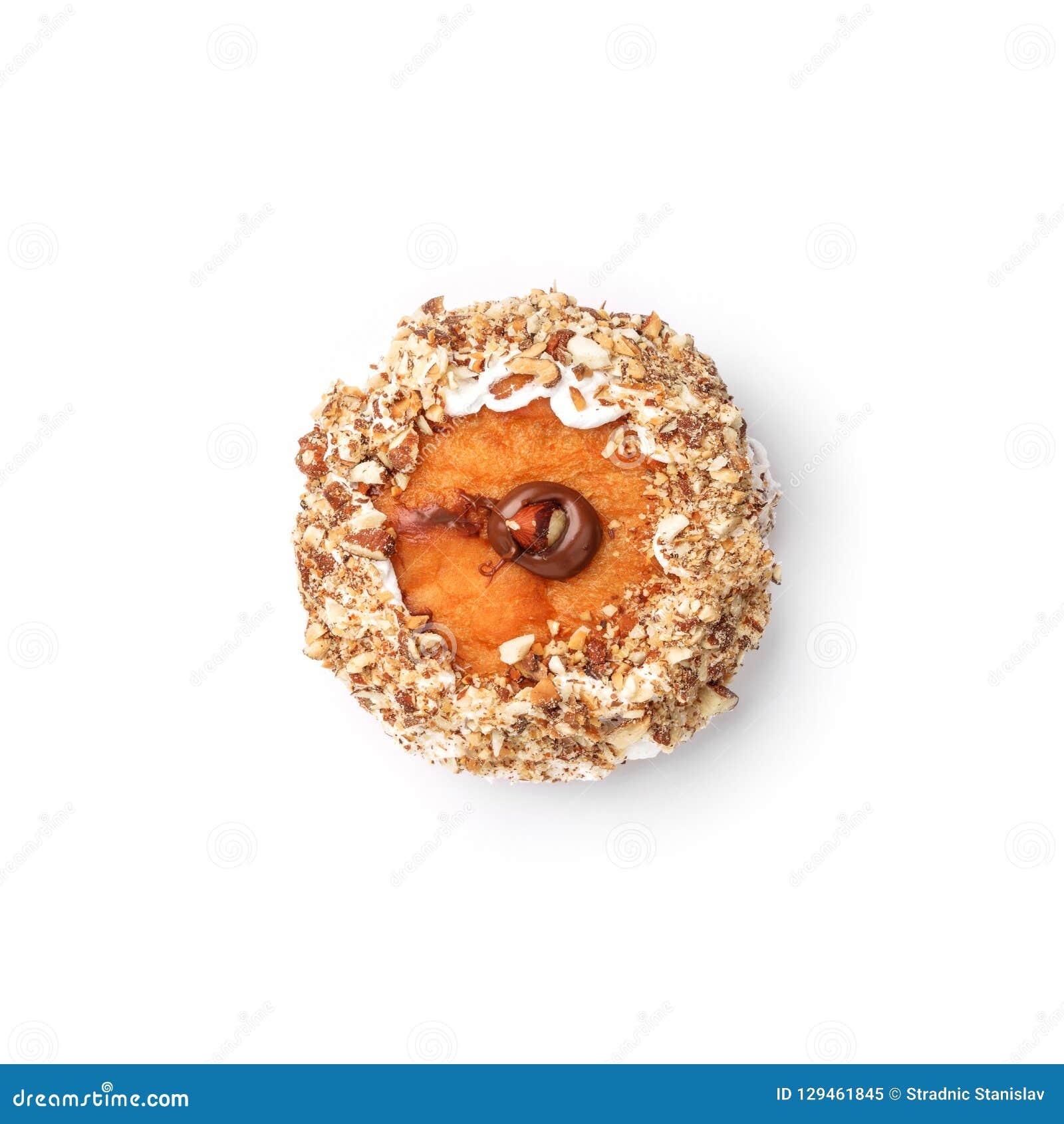 Doughnut met room en hazelnootkern Hoogste mening Geïsoleerd beeld
