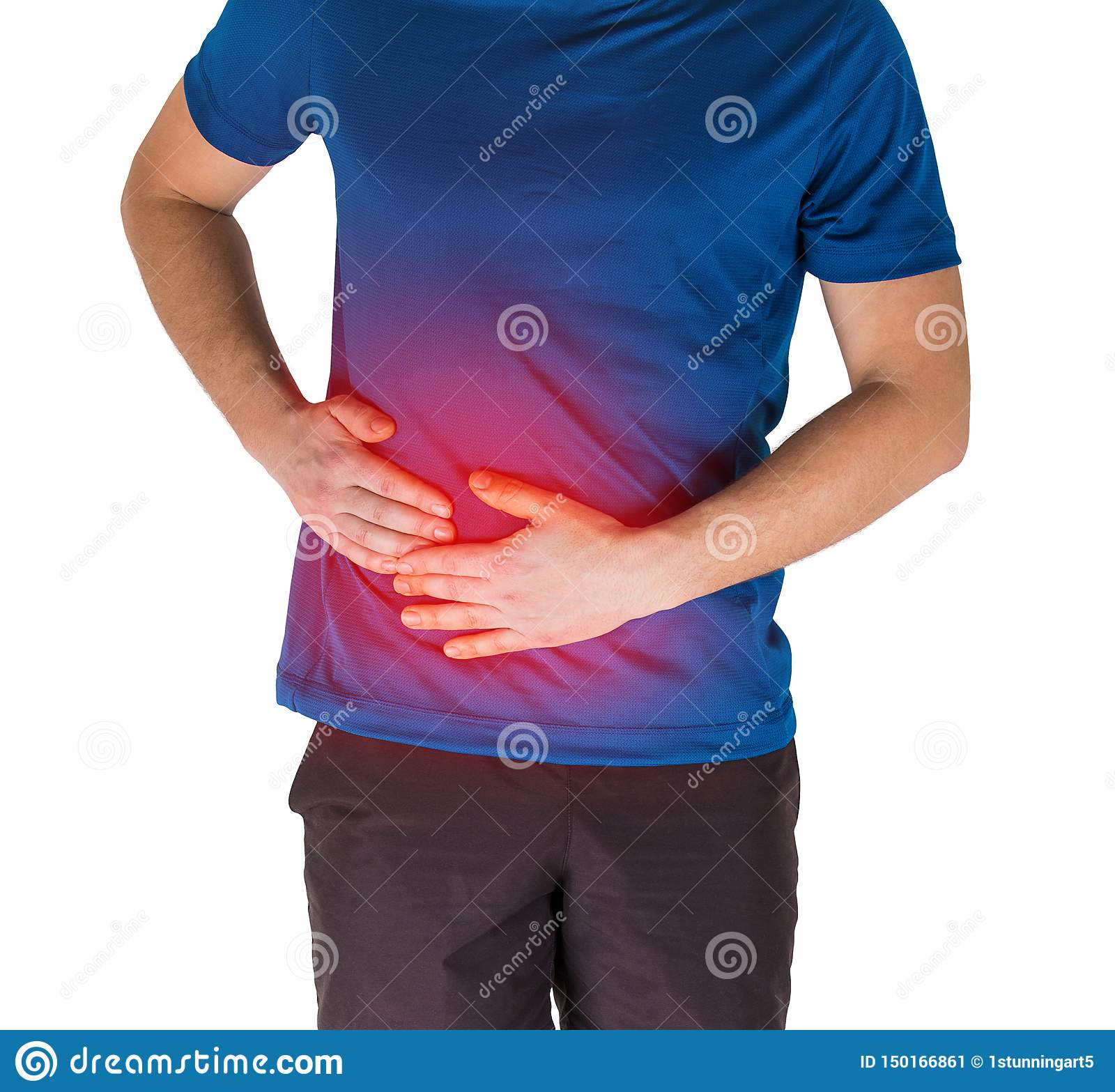 Douleur abdominale se sentante d athlète et point latéral d exercice d isolement au-dessus du fond blanc
