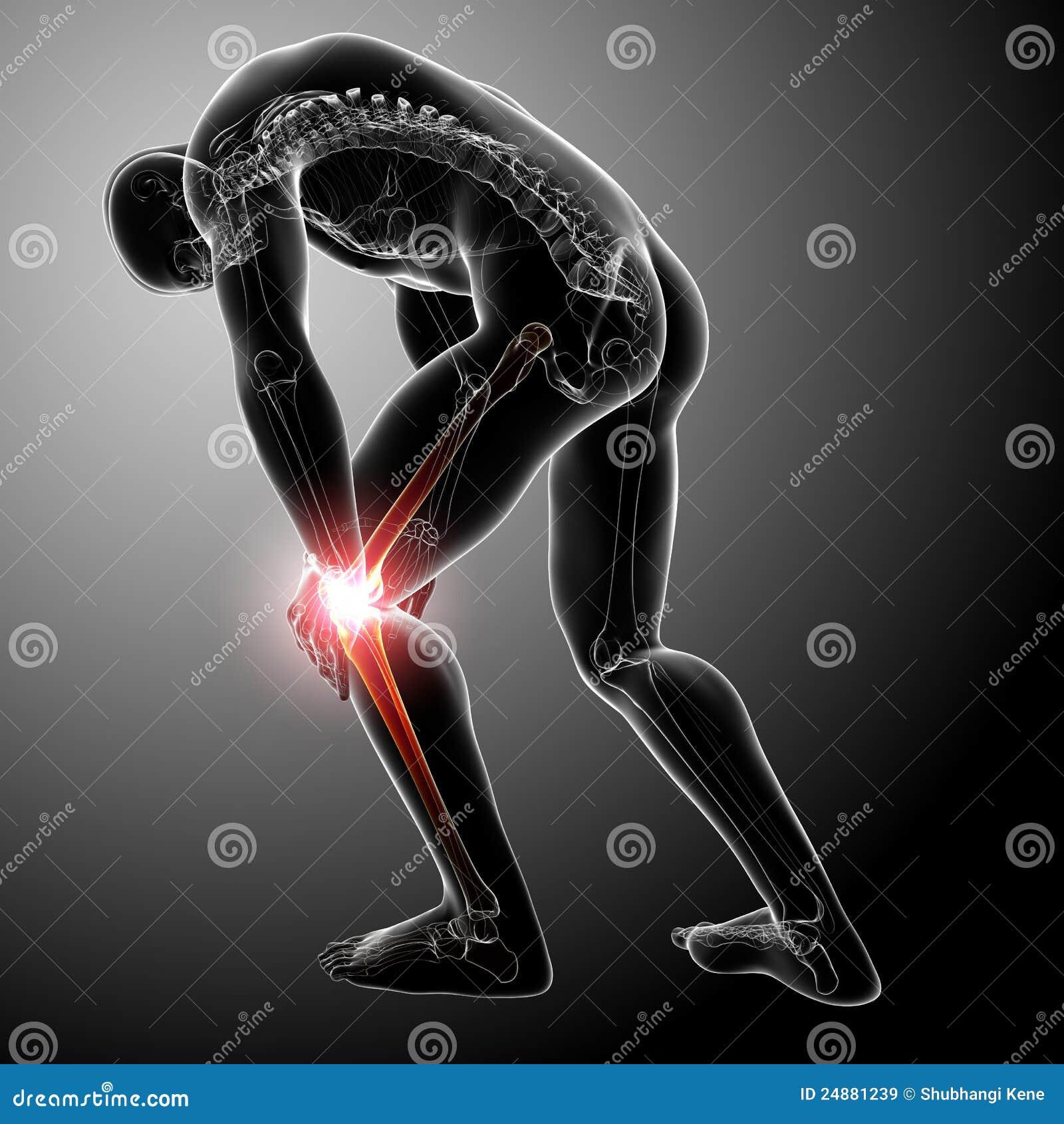 Douleur de genou de mâle dans le gris