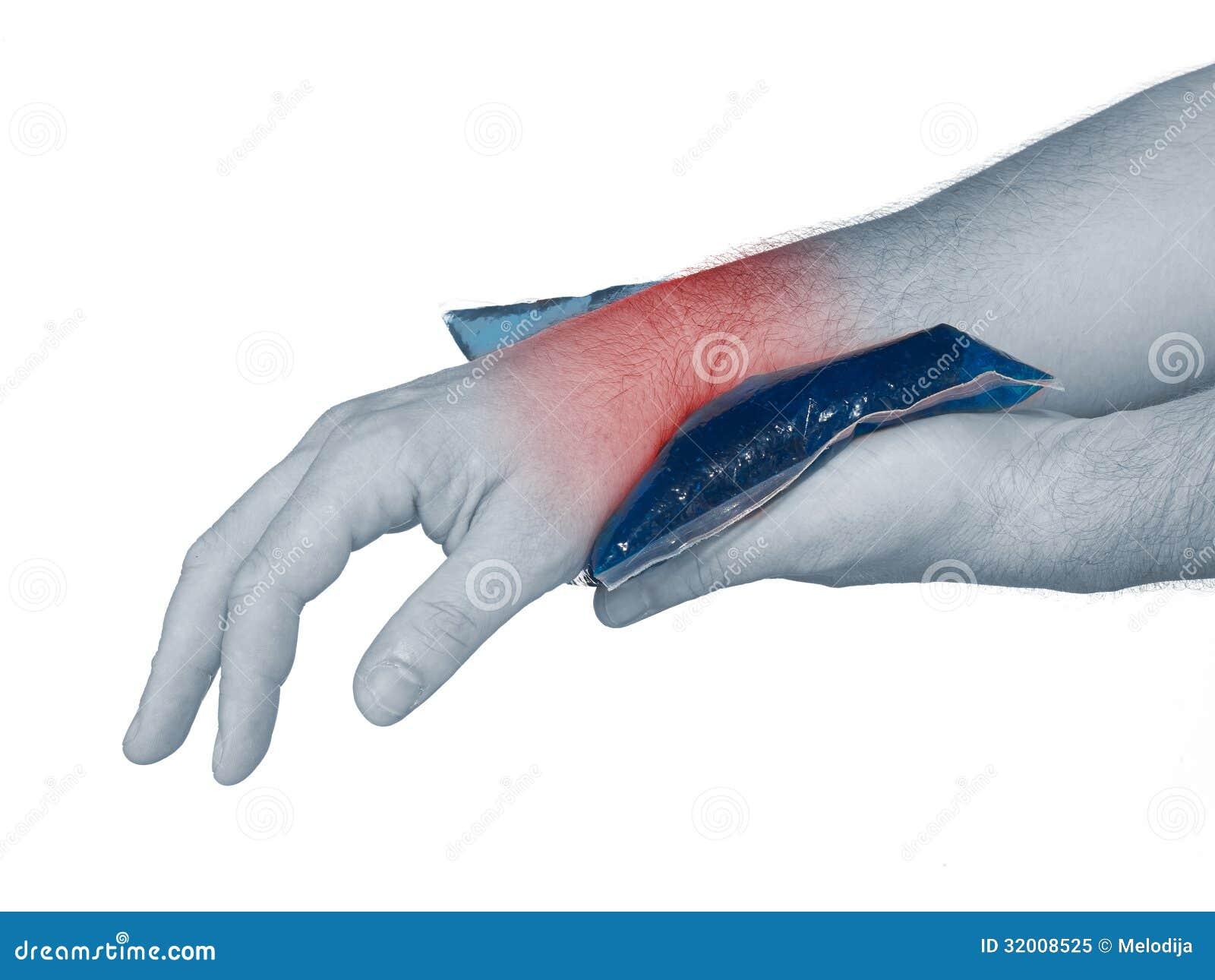 douleur de poignet m le tenant la vessie de glace sur le poignet photo libre de droits image. Black Bedroom Furniture Sets. Home Design Ideas