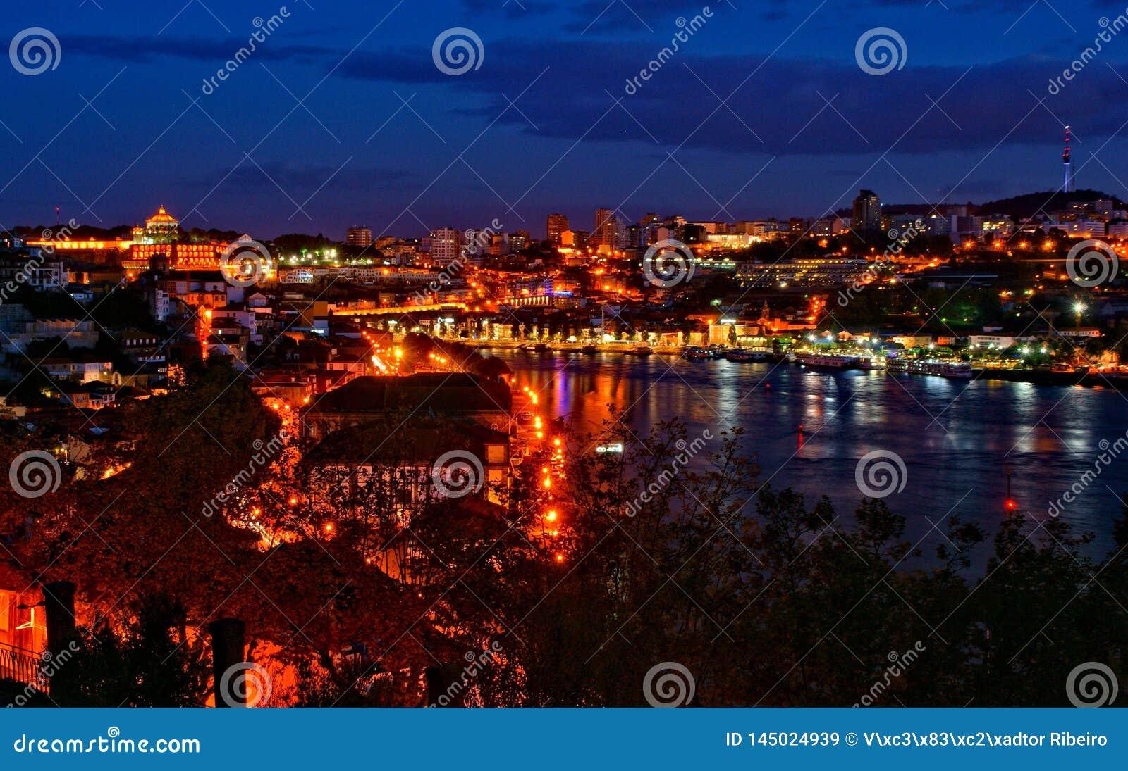 Douro river night view in Porto