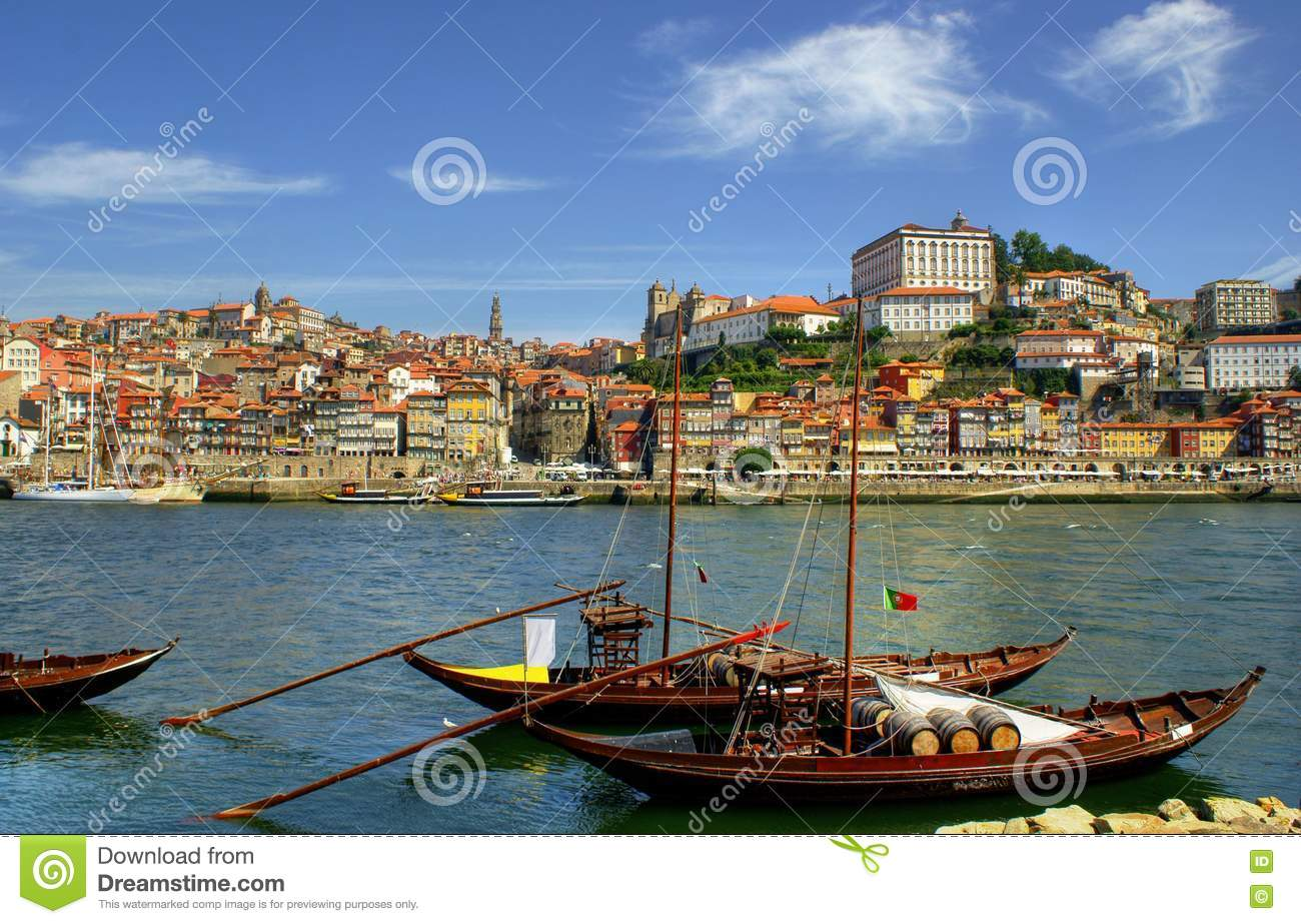 Douro river and traditional boats in Porto