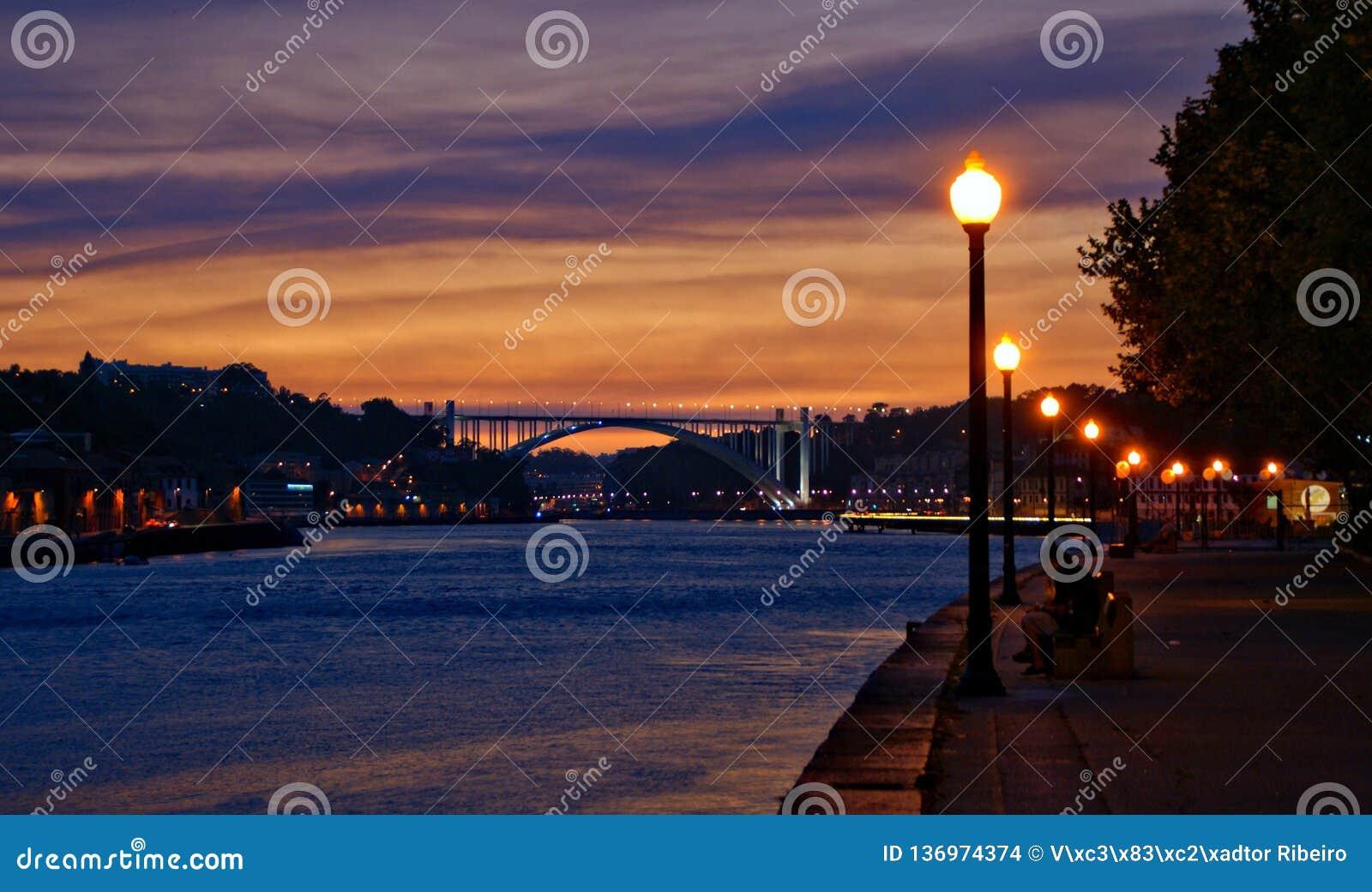 Douro River view at night in Porto