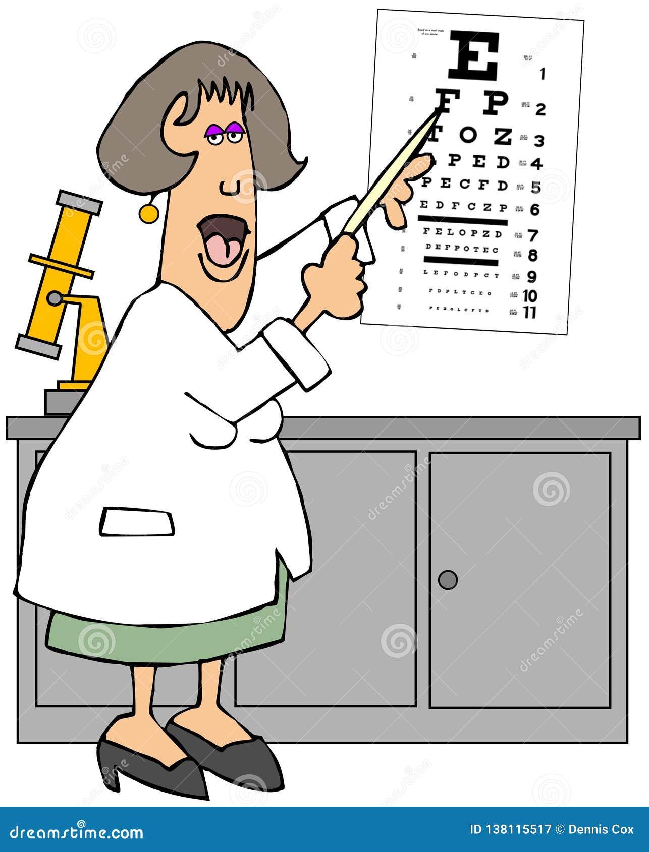 Doutor de olho fêmea que aponta a uma carta de olho