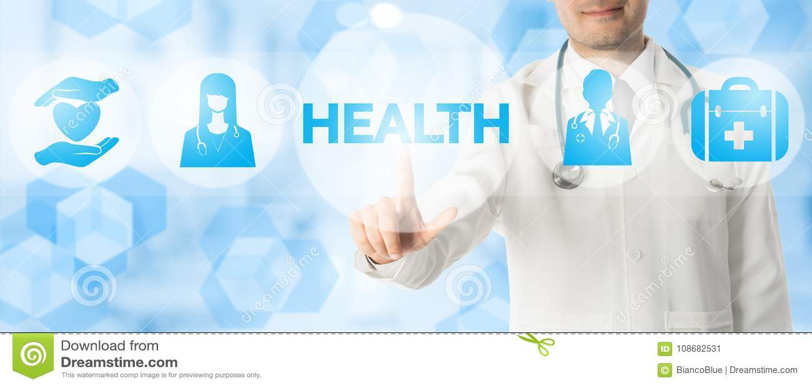 Doutor Points na SAÚDE com ícones médicos