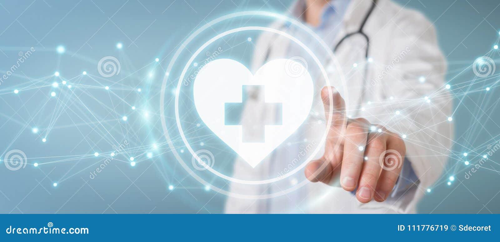 Doutor que guarda a rendição da relação digital 3D da pulsação do coração