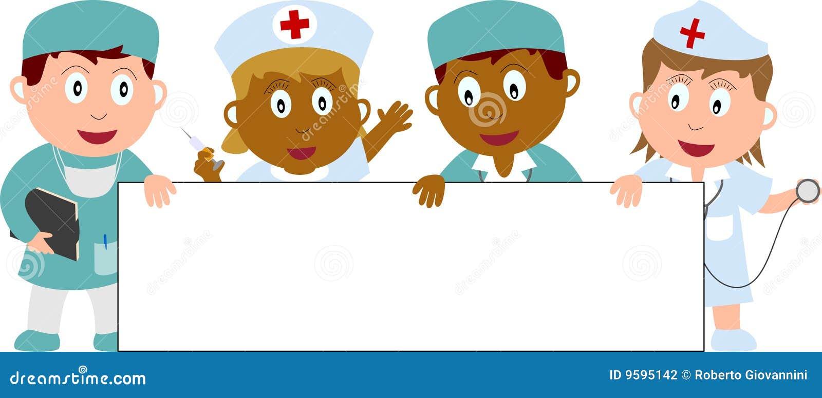 Doutores, enfermeiras e bandeira