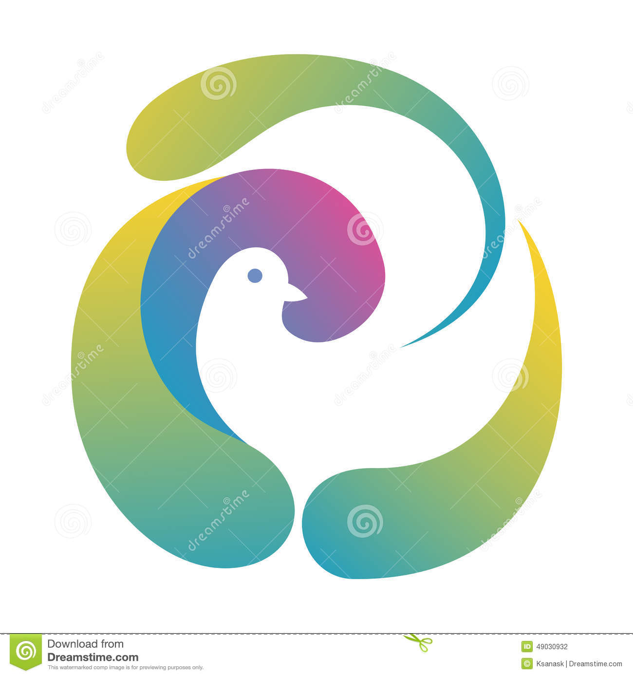 Illustration with stylized dove made by abstract forms, like bird nest ...
