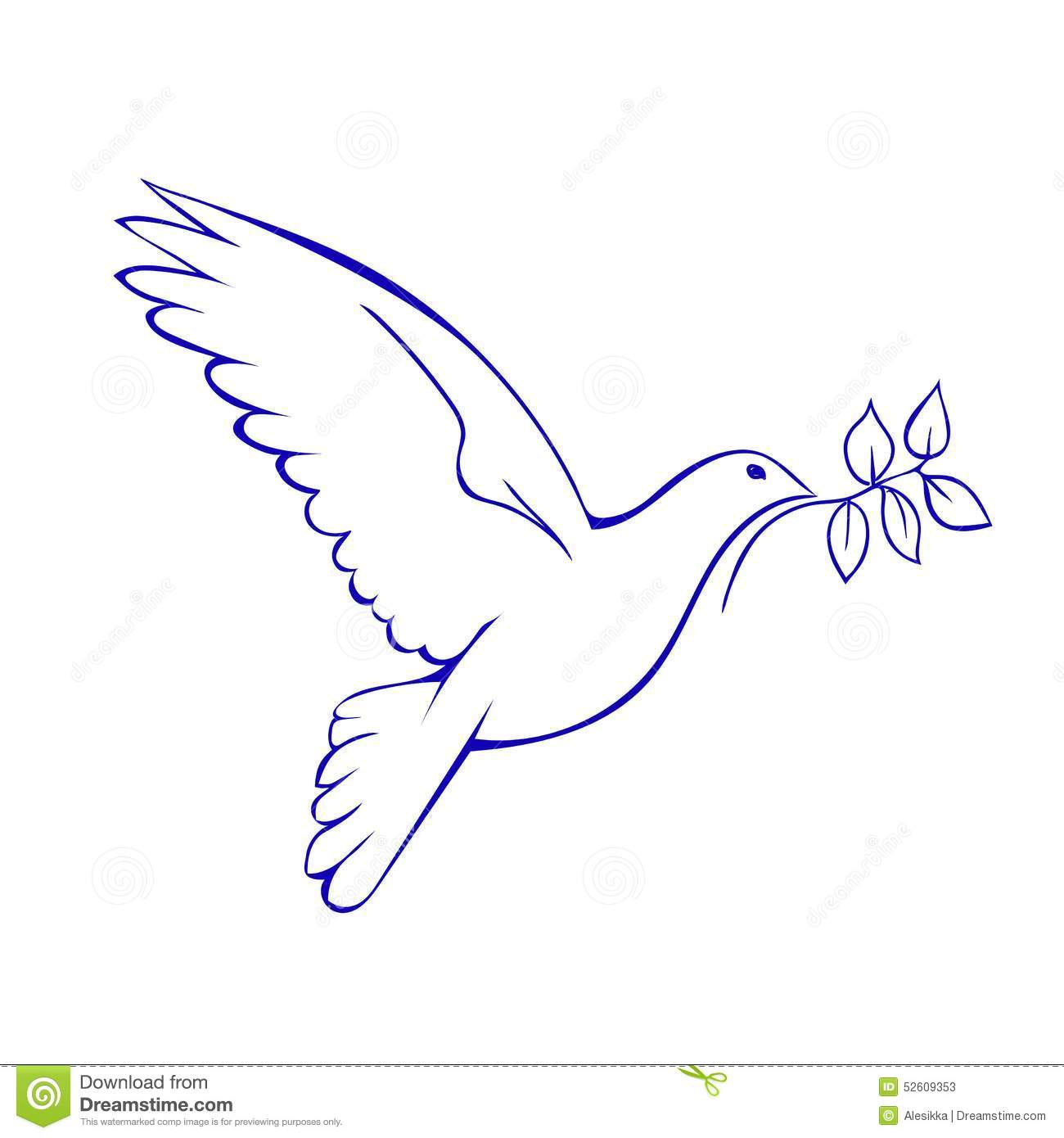 Dove With Branch Symbol Of Peace Stock Vector Illustration Of