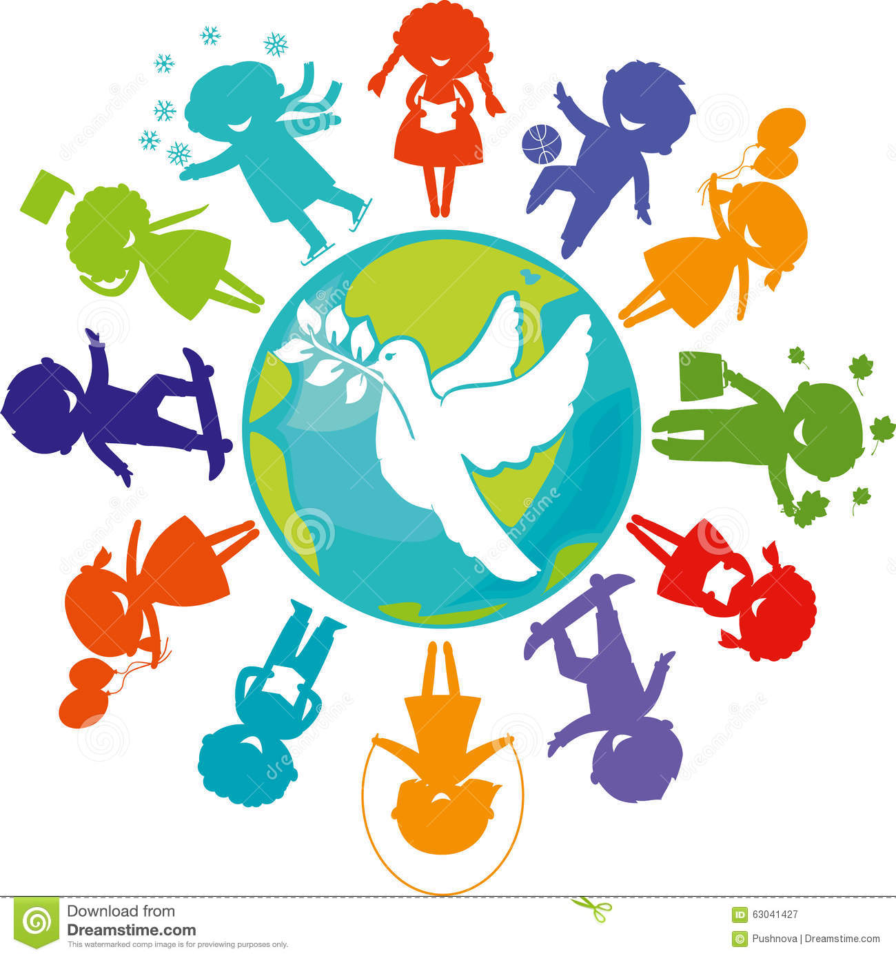 A Dove Children And The World Stock Vector Illustration Of Cute