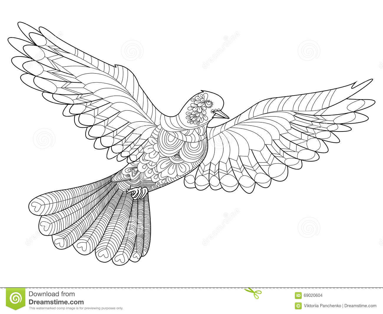 Dove Coloring Vector For Adults Stock Vector