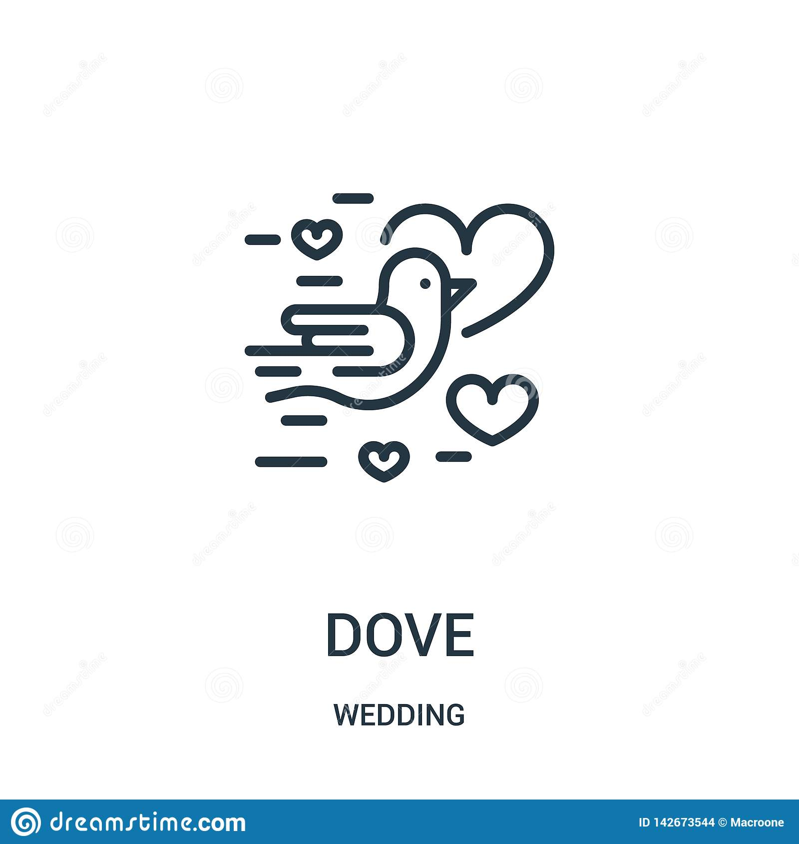 Dove Icon Vector From Wedding Collection  Thin Line Dove Outline