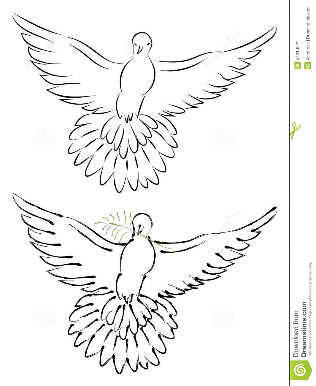 Line Drawing Dove : Dove line art stock vector image