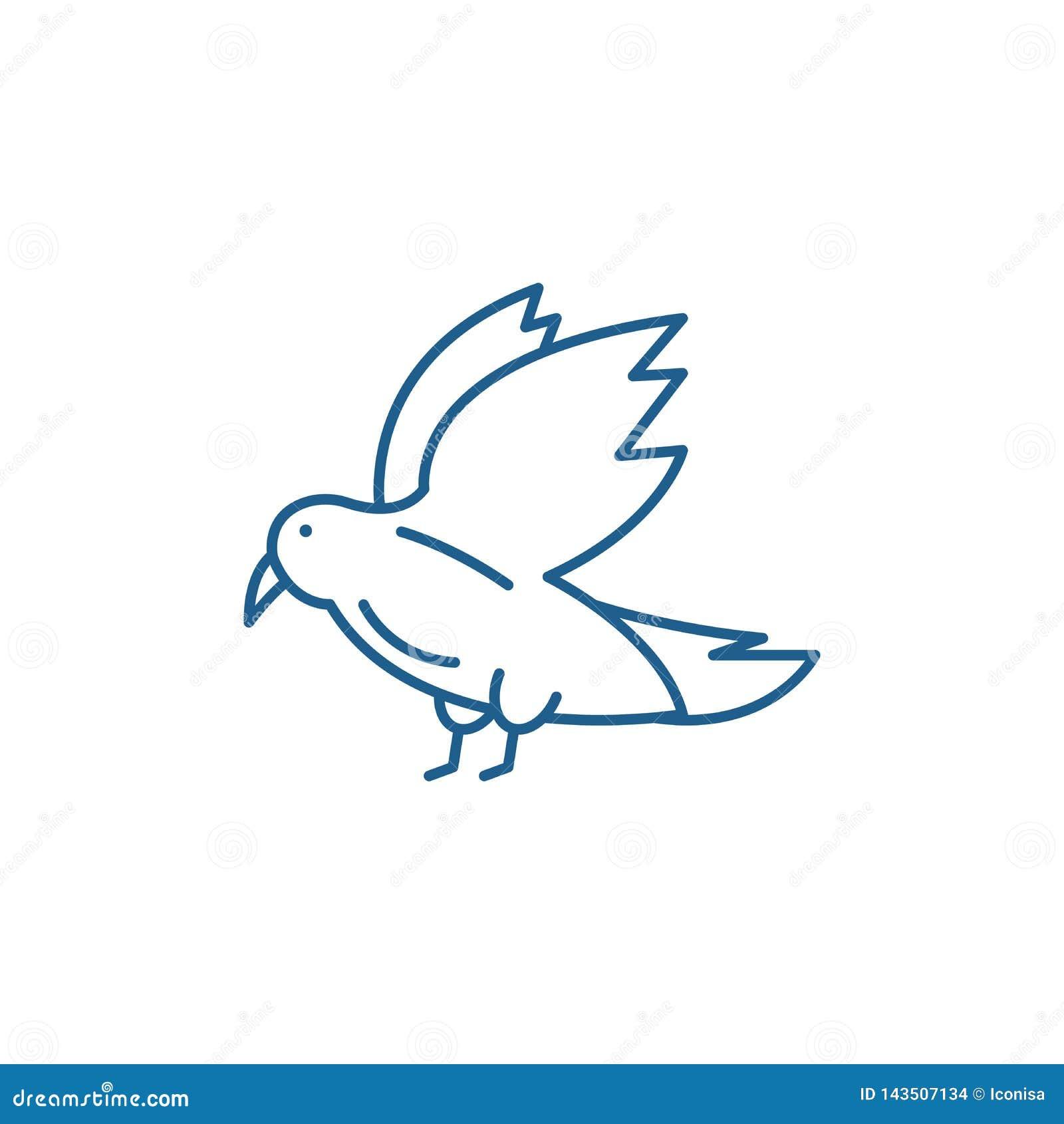 Dove Line Icon Concept  Dove Flat Vector Symbol, Sign
