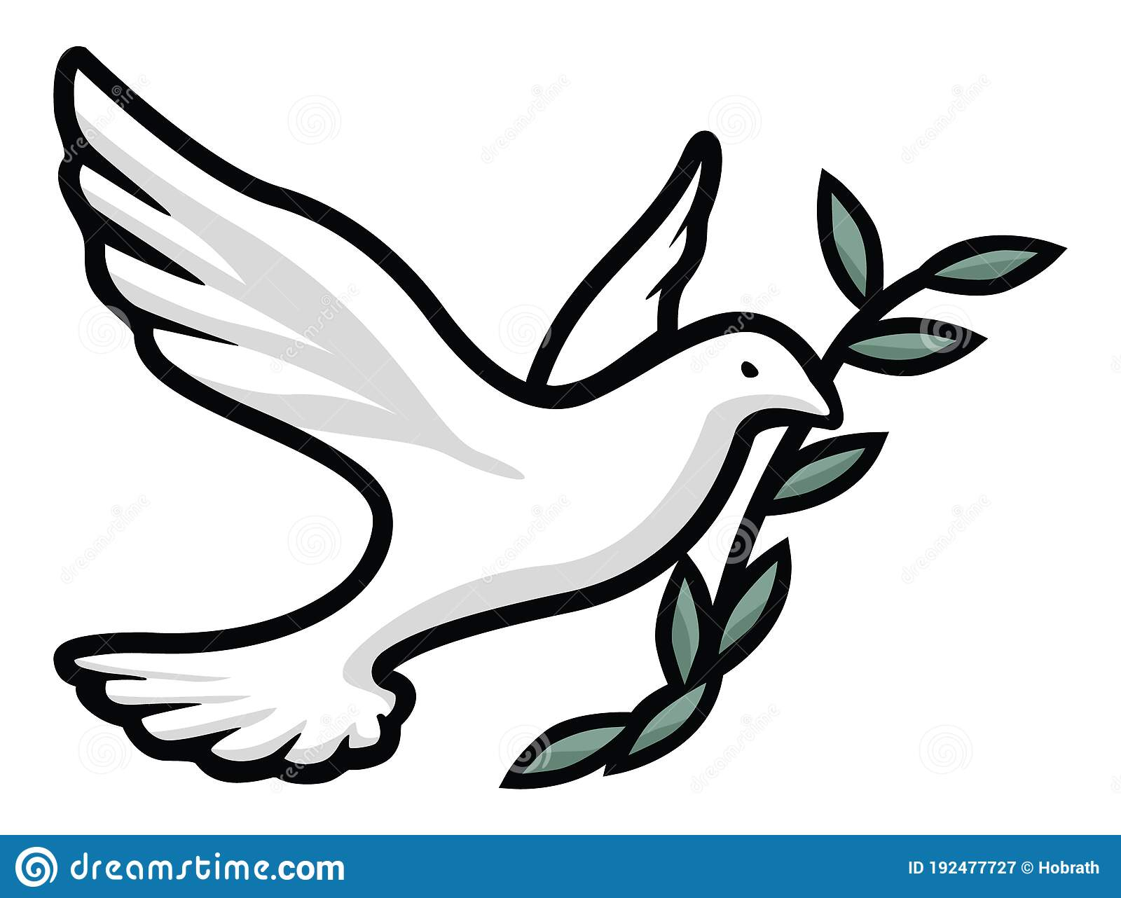 Dove With Olive Branch Isolated Vector Illustration Stock Vector Illustration Of Feather Forgiveness 192477727