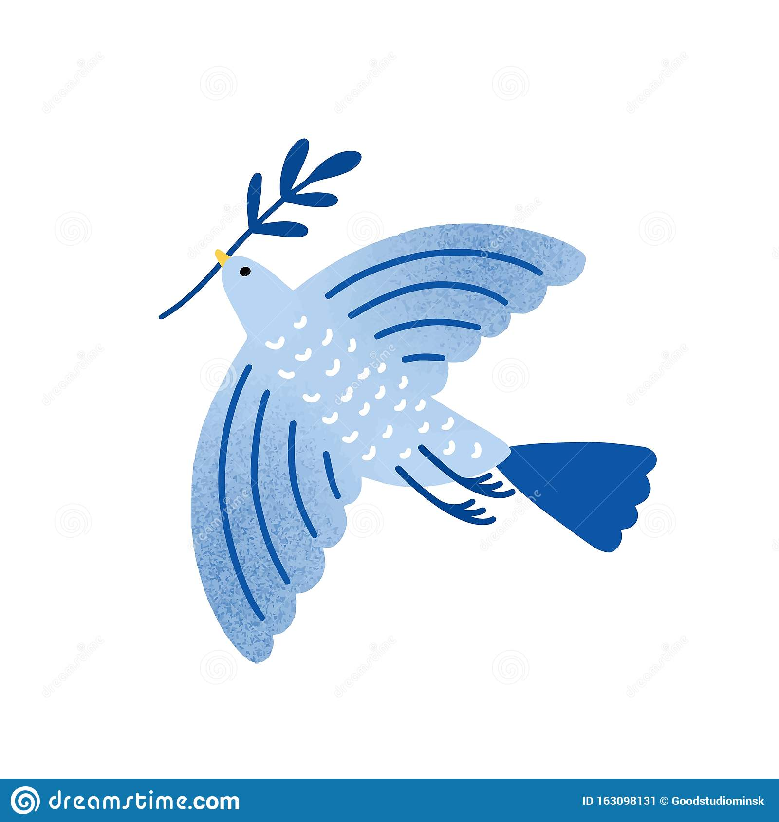 Dove With Olive Branch Vector Illustration Bird Pigeon Holding Plant Twig Isolated On White Background Traditional Stock Vector Illustration Of Branch Bird 163098131
