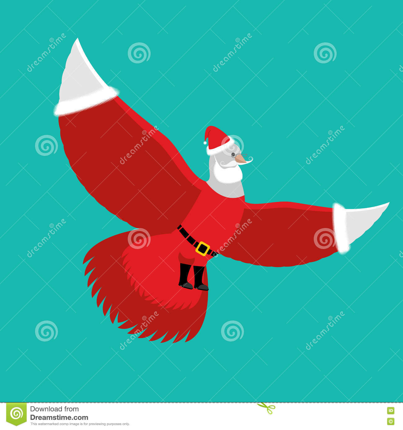dove santa claus white pigeon in red costume and cap stock image - Santa Claus Red